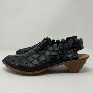 Rieker Black Leather weaved sling back mule 41